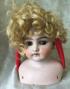 """Antique Bisque Shoulder Doll Head """"Darling 4"""" ~Fixed Blue Eyes~Open Mouth~ As Is"""