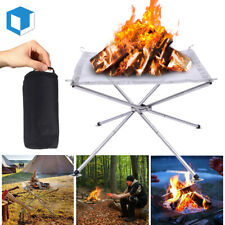 Portable Outdoor Fire Pit Steel Mesh Fireplace fr Camping Cooking Patio Backyard