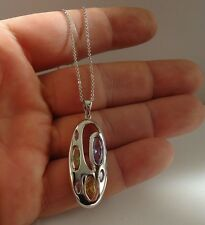 MULTI-COLOR NECKLACE PENDANT W/ AMETHYST/PERIDOT/DIAMONDS/ 925 STERLING SILER