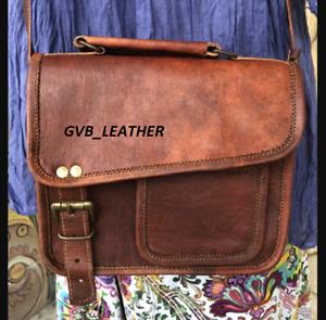 Men's Genuine Vintage Leather Messenger Shoulder Laptop Bag Document Briefcase