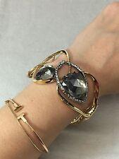 NEW Alexis Bittar Wide Gold Link Crystal Pave Quartz Hinge Bracelet $295