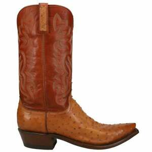 Lucchese Dante Ostrich Pointed Toe   Mens  Dress Boots   Mid Calf  - Beige -
