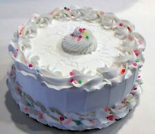 "Large Fake Cake White Textured w/ Pastel Sequins- Display 9"" Faux for home decor"