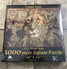 "Camo Lion 1000 Piece Jigsaw Puzzle 20"" X 27"" Zebras New Sealed Suns Out 28519"