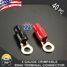 4 Gauge Gold Ring Terminals 40 Pack 4 AWG Wire Crimp Cable Red/Black Boots 5/16""