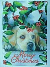 """Merry Christmas"" Golden Lab Retriever Dog Peeks out Snow Holly bush Garden flag"
