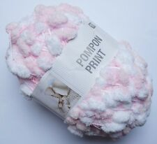 RICO DESIGN POMPON PRINT POMPOM SCARF YARN WOOL *200G BALL!* PINK WHITE MIX (10)