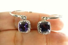 Square Purple Amethyst Solitaire 925 Sterling Silver Dangle Drop Earrings