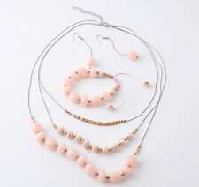 Pink and Gold Pearls and Beads Necklace, Bracelet and Earrings Set, Bridesmaids
