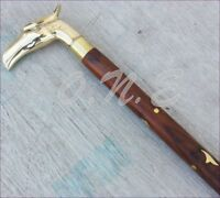 Vintage Solid Brass Handle Antique Style Victorian Cane Wooden Walking Stick New
