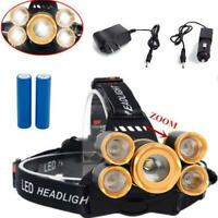 80000LM 5LEDs Zoom LED Rechargeable Headlamp Head Light Torch with Charger+18650