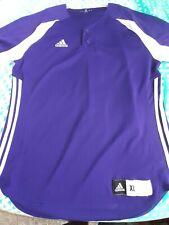 Adidas Men's Purple-White Climalite Baseball Jersey Jacket Shirt X-Large