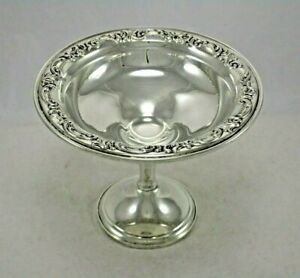 """Antique Alvin Sterling Silver 6"""" Repousse Acanthus Leaves Footed Compote"""