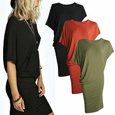 Summer Womens Batwing Sleeve Bodycon Mini Dresses Casual Loose Wrap Sundress Top