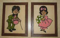 Set of 2 Framed Gravel Pebble Art Girl Boy Pink Green Colors