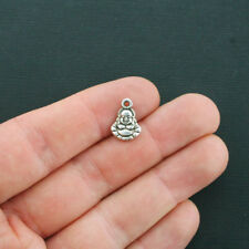 10 Buddha Charms Antique Silver Tone 2 Sided - SC4453