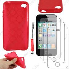 Coque SiliconeCercle Rouge Apple iPhone 4S 4+Mini Stylet+3 Film écran