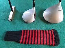 Knitted zebra style Fairway & Driver Golf Club head cover Black / Flamenco Red