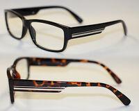 Flache klassische Nerd Brille Klarglas Hornbrille schwarz silber braun gold 552