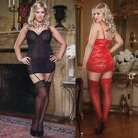 Plus Size Lingerie One Size 1X/2X,3X/4X Black or Red Valentine Chemise DG7944X