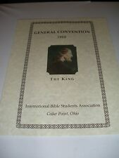 1922 Cedar Point Ohio ADV Convention Program Watchtower IBSA Jehovah