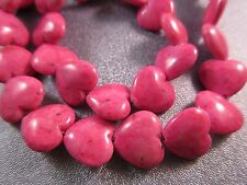 Dyed River Stone Hot Pink Heart Beads 38pcs