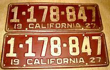 1927 California Plates DeSoto Lincoln Chevy Cadillac Buick Auburn Pierce Arrow