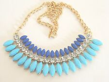 Women's Blue Crystal Bib Statement necklace Jewellery