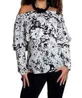 Ladies Blouse Womens Long Sleeve Loose Chiffon Bardot Top Size 10 12 14 16 18