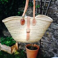 GORGEOUS SMALL FRENCH MARKET SHOPPER WITH LEATHER BUCKLE FASTENING.  A MUST !