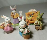 """Set of 5 Miniature Easter Bunny Rabbits Figurines 2""""  4 Rabbits 1 Bench w a Bird"""