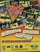 Original '97 Playstation TEN PIN ALLEY bowling video game magazine print ad page