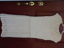 Tibi Designer Dress 100% Merino Wool size L Vanilla Cream Festive Cap sleeve