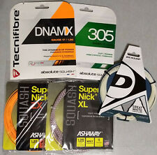 5 sets of assorted squash strings from Ashaway and Tecnifibre, new in packaging.