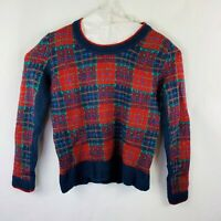 Poof Pull Over Sweater Women's Size Small Acrylic Plaid