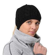 TrailHeads Women's Cable Knit Ponytail Beanie - black