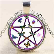 Wiccan Star and Butterflies Cabochon Glass Tibet Silver Chain Pendant Necklace