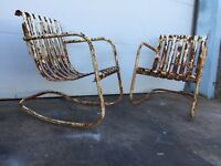 Art Deco Distressed Sprining Rocking Chairs Mid Century Modern Vintage
