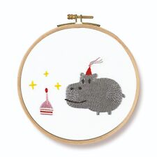 """DMC Printed Embroidery Kit """"Birthday! Hippo"""" with hoop"""