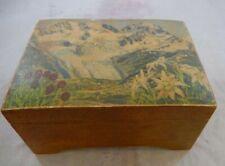 Vintage Wooden Music Box Weggiserlied Befag Switzerland Alpine Landscape on Top