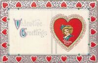 Valentine~Little Lady Bust Portrait~Lace Edged Heart~Red Silver Heart Border~Emb