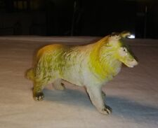 """1974 Imperial Collie no.1222 3.5"""" Tall and 5"""" Long Rubber Toy Hong Kong"""