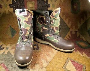 WOLVERINE Camouflage GREEN LEATHER FABRIC LACE UP THINSULATE BOOTS Size 8M