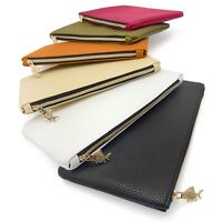 Faux Leather Look Pencil Case / Makeup Bag - Gold Zip - by Fat Belly Fish