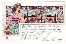 POSTCARD ART NOUVEAU WOMAN WITH FLOWERS 1900 PARIS SOCIETE SECESSION
