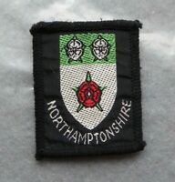Vintage Scouts cloth badge, Northamptonshire, 1.8 x 1.5 inches.