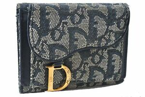 Authentic Christian Dior Trotter Saddle Trifold Wallet Canvas Leather Blue D5589