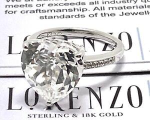 Designer Lorenzo 10.26ct Sapphire Ring 18k White Gold Over .925 Sterling Silver