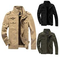 Nuevo estilo militar hombres chaqueta cremallera delgada fuerza aérea Outwear fv