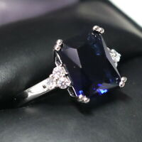 Sparkling Princess Blue Sapphire Ring Women Engagement 14K White Gold Plated